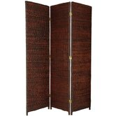 Rush Grass Woven Room Divider in Dark Brown