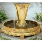 Centerpiece Cast Stone Overflowing Vase Waterfall Fountain