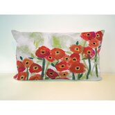 Poppies Rectangle Indoor/Outdoor Pillow in Red