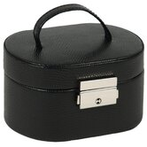 Heritage South Molton Travel Mini Oval Jewelry Box in Black