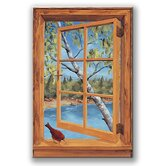 Cabin and Cardinal Wooden Faux Window Scene