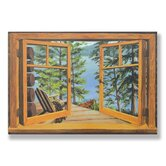 Cabin and Lake Wooden Faux Window Scene