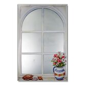 Faux Window Mirror Screen with Daisies and Shells