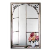 Faux Window Mirror Screen with Wrought Iron and Cabbage Rose