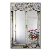 Faux Window Mirror Screen with Toile Vase