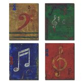 Kids Room Distressed Musical Notes Wall Plaques (Set of 4)