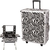 Zebra Pattern Professional Rolling Studio Makeup Train Case