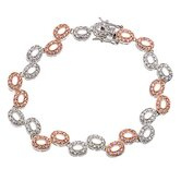 cubic zirconia and Rose Gold Plated Oval Link Bubble Bracelet
