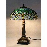 Stained Glass Blue Dragonfly Table Lamp