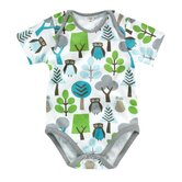 Owls Boy's Short Sleeve Bodysuit in Sky