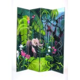 Elephant in Jungle 4 Panel Distressed Room Divider