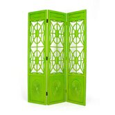 Spider Web 3 Panel Room Divider in Distressed Green