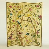 Multi - Colored Birds in Trees Room Divider