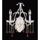 Opulence  Candle Wall Sconce in Antique White and Amber Crystal