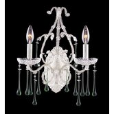 Opulence  Candle Wall Sconce in Antique White and Lime Crystal