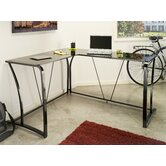 Lucido Metal and Glass L-shape Computer Desk