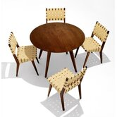 Jens Risom 5 Piece Round Dining Table with Risom Side Chairs
