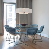 Platner 7 Piece Dining Table with Bertoia Side Chairs in Nickle Finish