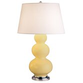 Triple Gourd Large Table Lamp in Butter with Antique Silver Base