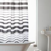 Hookless Shower Curtain in Charcoal Stripe