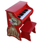25 Key Doggy Piano &amp; Bench in Red