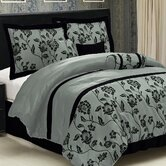 Aqua Blue Flocking Comforter Set