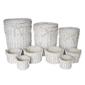 Round Laundry and Storage Basket in White (Set of 9)
