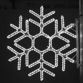 "36"" Pole Decoration Hexagon Snowflake in Pure White"