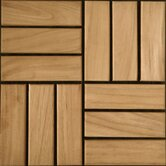 "Teak 12"" x 12"" Interlocking Parquet Deck Tiles in Select"