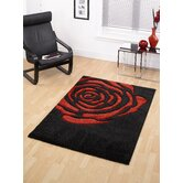 Monte Carlo Rose Black / Red Contemporary Rug