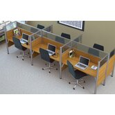 Pro-Biz Six-Straight Desk Workstation With 3 Melamine Privacy Panels &amp; 3 Acrylic Glass Privacy Panels (Per Workstation)