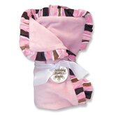 Maya Velour Baby Blanket in Pink with Striped Trim