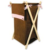 Hamper Set in Brown and Pink Suede