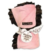 Ruffle Receiving Blanket in Pink and Brown