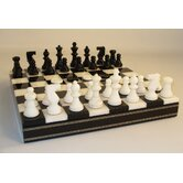 Alabaster Inlaid Chest Chess Set in Black / White