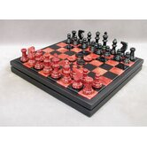 Alabaster Chest Chess Set in Red / Black