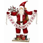 Santa with Merry Christmas Banner Figurine