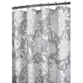 Peony Shower Curtain in Antique Silver / White