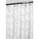 Victorian Lace Shower Curtain in White / Silver
