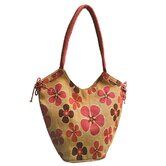 Natural Damask Rose Jute Tote Bag