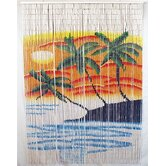 Double Orange and Blue Palm Tree Bamboo Curtain