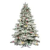 Flocked Alaskan 7.5' Artificial Christmas Tree with Multicolored G50 Lights