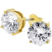 Gold Overlay Cubic Zirconia Stud Earrings