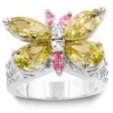 Silver-Tone Multicolored Cubic Zirconia Butterfly Cocktail Ring