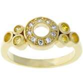 Gold-Tone Circle Cubic Zirconia Fashion Ring