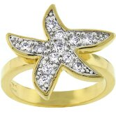 Gold-Tone Pave Cubic Zirconia Starfish Fashion Ring