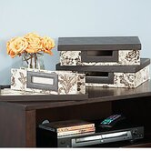 small storage bin collection (3 bins) in Neutral & Chocolate Floral Print