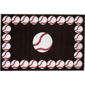 Fun Time Baseball Time Red Kids Rug