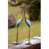 Stylized Garden Crane Pair Statue