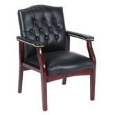Leather Guest Chair with Brass Head Nail Trim